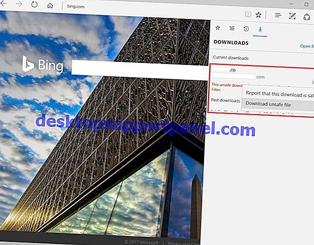 Microsoft Edge – SmartScreen 필터로 차단 된 안전하지 않은 파일 다운로드 방지