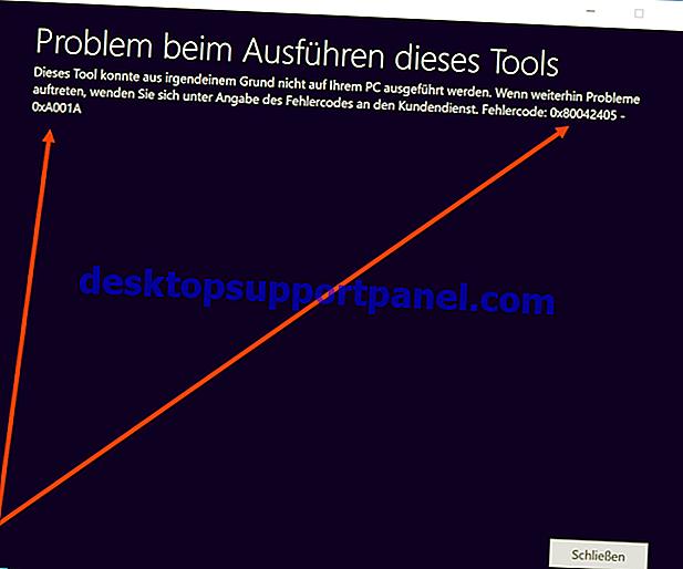 Fel för medieskapande av verktyg 0x80042405 - 0xA001A